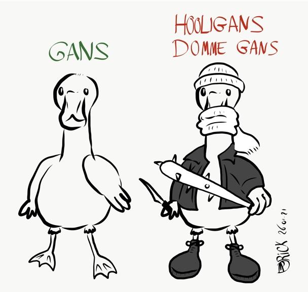 Dieren hooligans cartoon